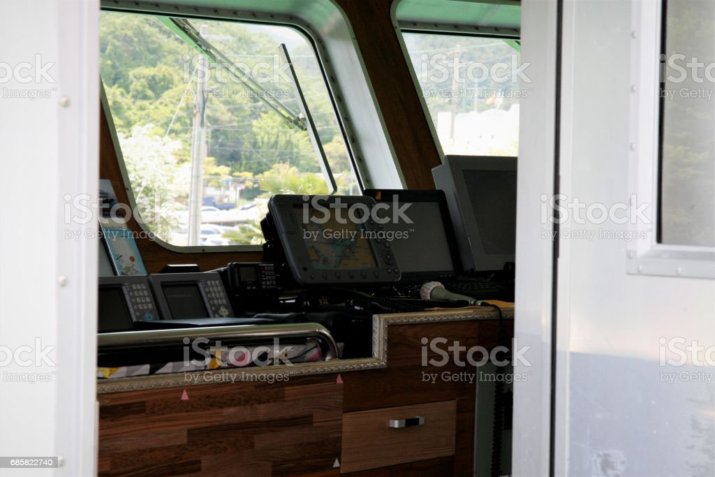 Wheelhouse of korea cruise ship stock photo