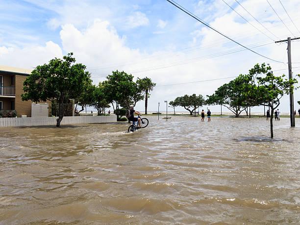 Wheelie in Flood Water stock photo