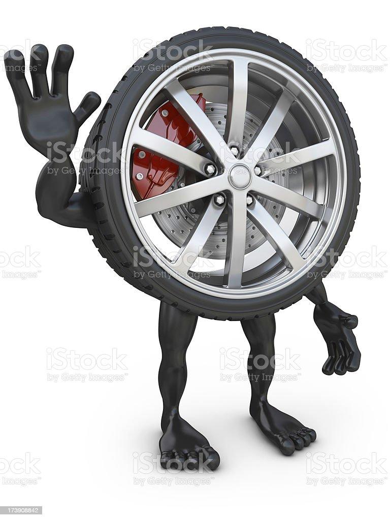 wheelman waving royalty-free stock photo