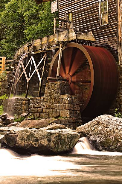 Wheels in Motion A unique perspective of the Glade Creek Grist Mill in Babcock State Park (southern West Virginia). babcock state park stock pictures, royalty-free photos & images