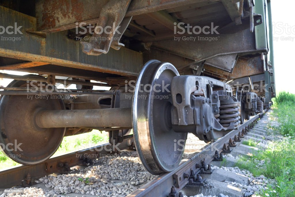 Wheels of a freight railway car close-up. Russia stock photo
