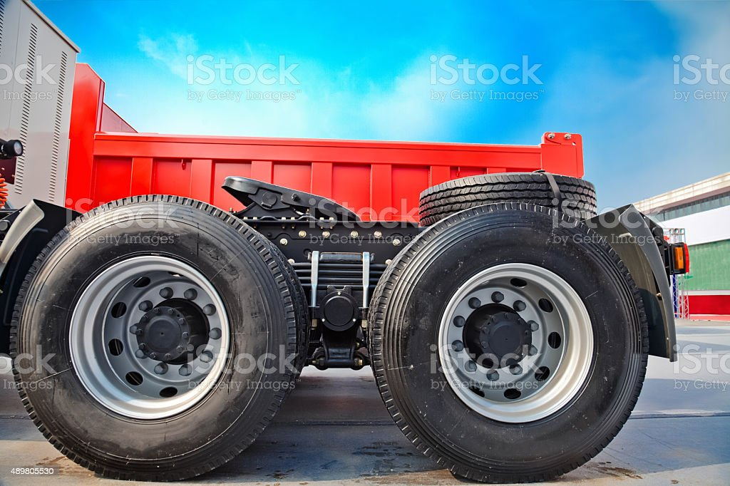 Wheels of a Semi-trailer truck stock photo