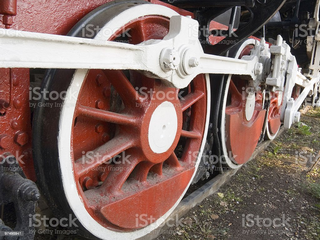 Wheels of a steam locomotive royalty-free stock photo