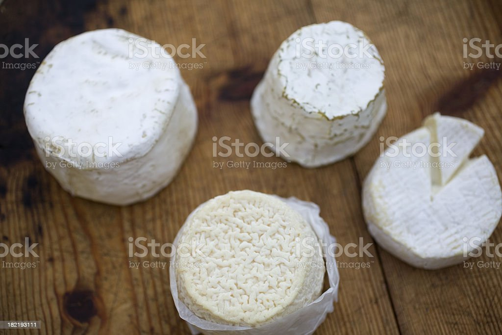 Wheels of French cheese stock photo