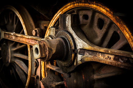 Wheels of old steam train
