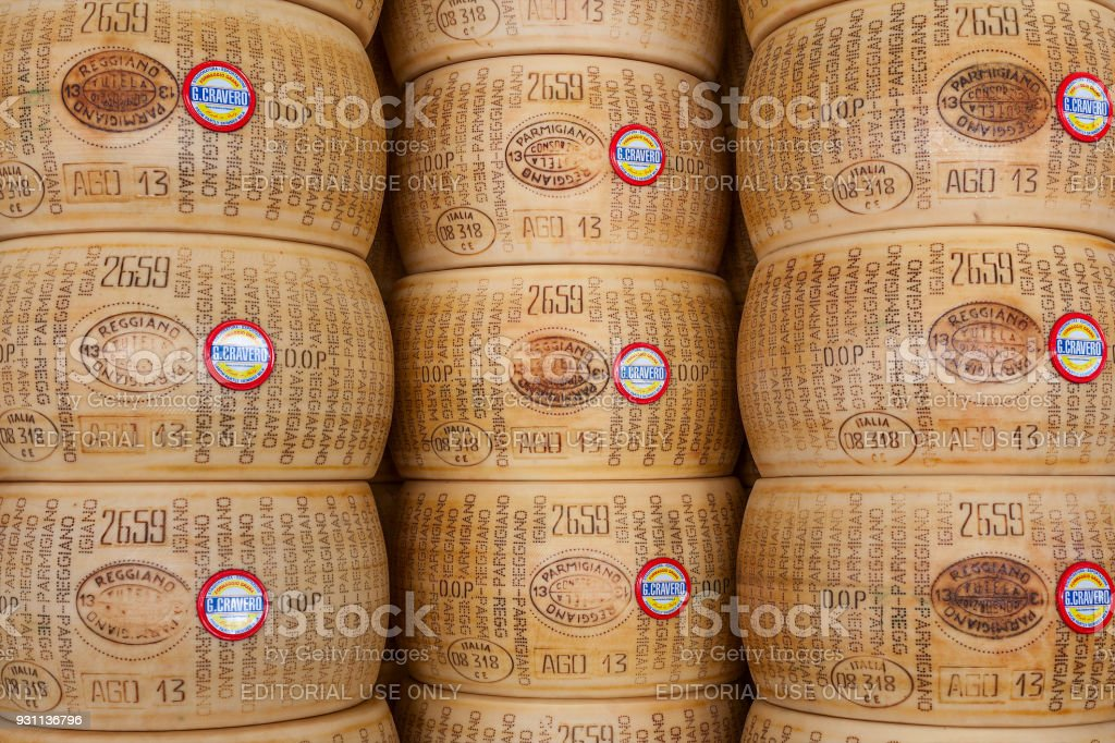 Wheels of Parmesan chees in Italy. stock photo