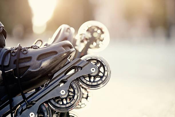 Wheels of roller skates stock photo