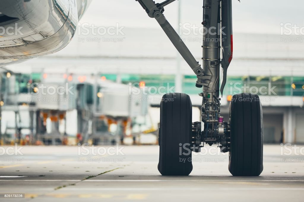 Wheels of the airplane stock photo