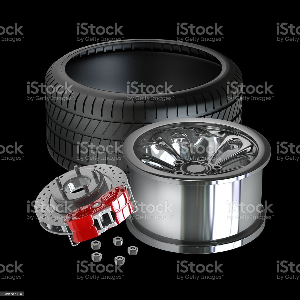 Wheels, Rims , brake pads and discs stock photo