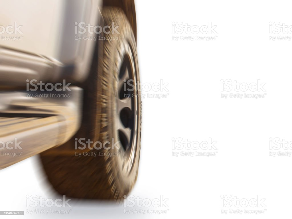 Wheels tires and off-road on white motion blur background. royalty-free stock photo