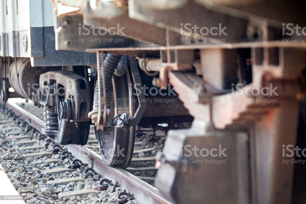 wheels train on the track stock photo