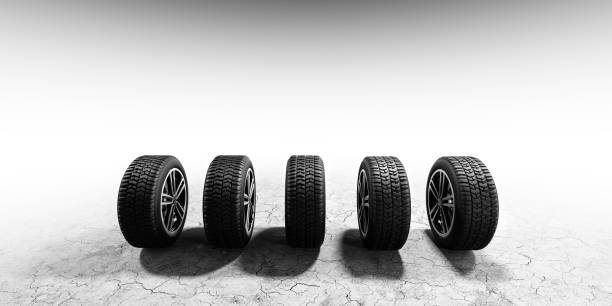 Wheels with modern alu rims on white background stock photo