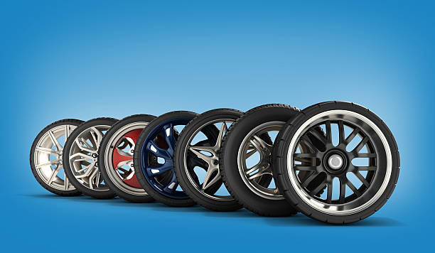 wheels with tires car standing in a row stock photo
