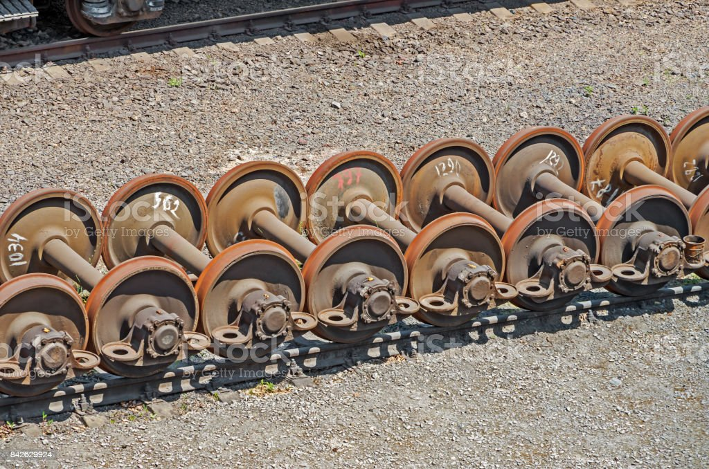 Wheelsets railcar stock photo