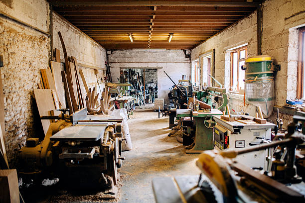 Wheelwright's workshop, carpentry tools and machinery stock photo