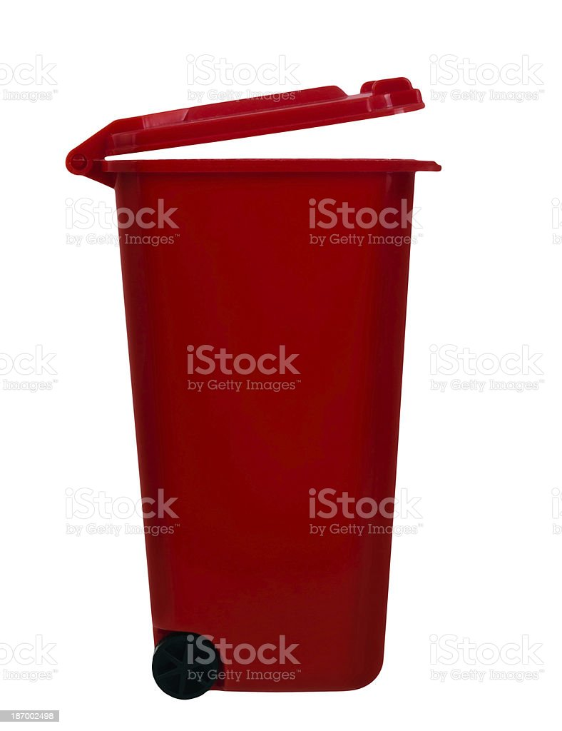 Wheely aka wheelie bin, red, isolated over white royalty-free stock photo