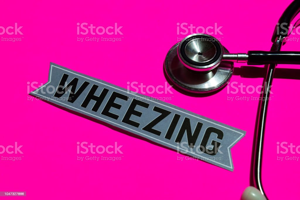 Wheezing on the paper with medicare Concept stock photo
