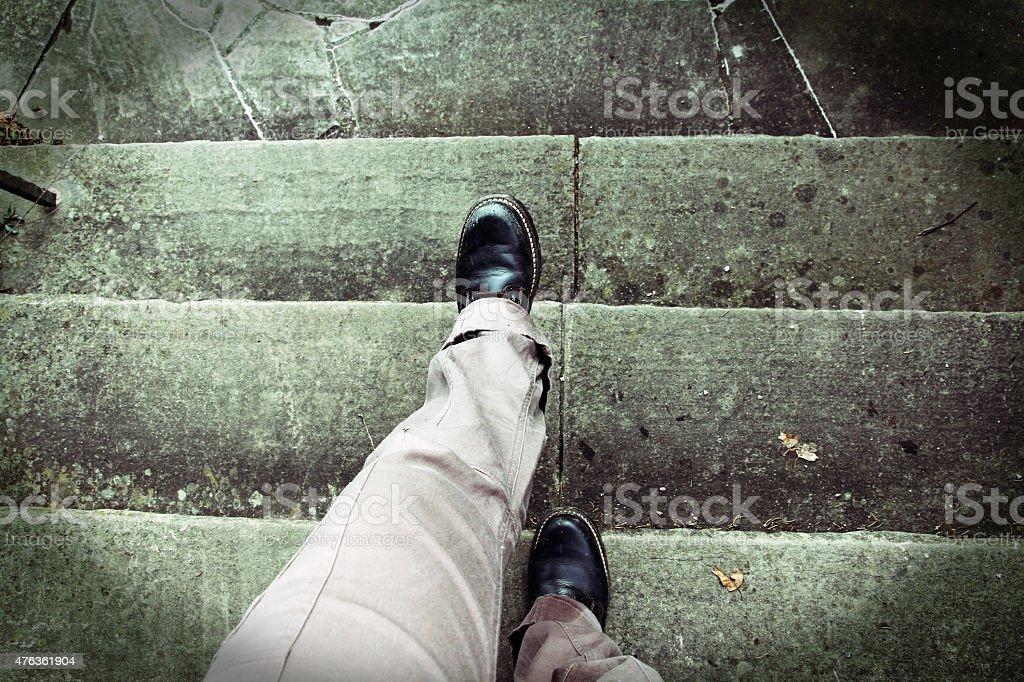 When climbing stairs Vertigo stock photo