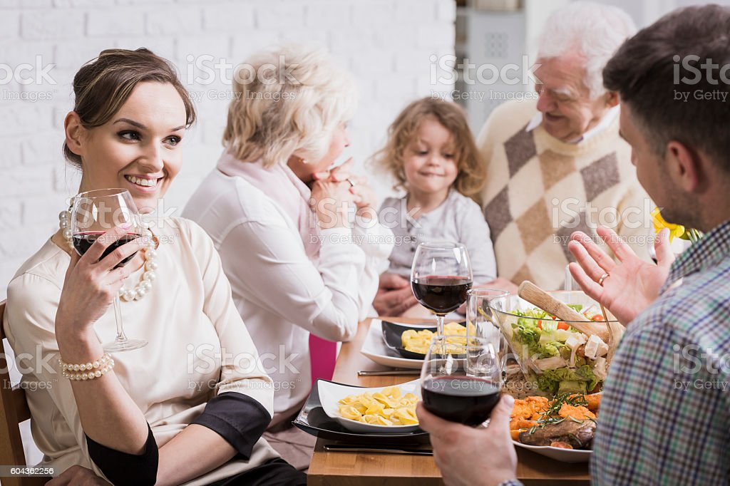 When grandparents are captivated to his grandson stock photo