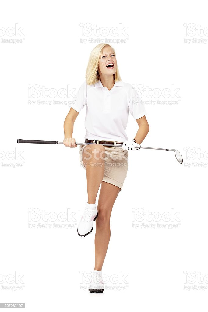 When I get mad, my clubs tend to snap! stock photo