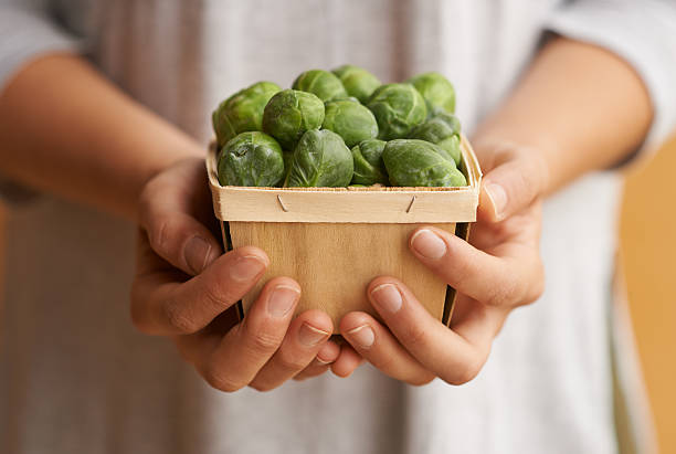 When in doubt eat your brussel sprouts stock photo