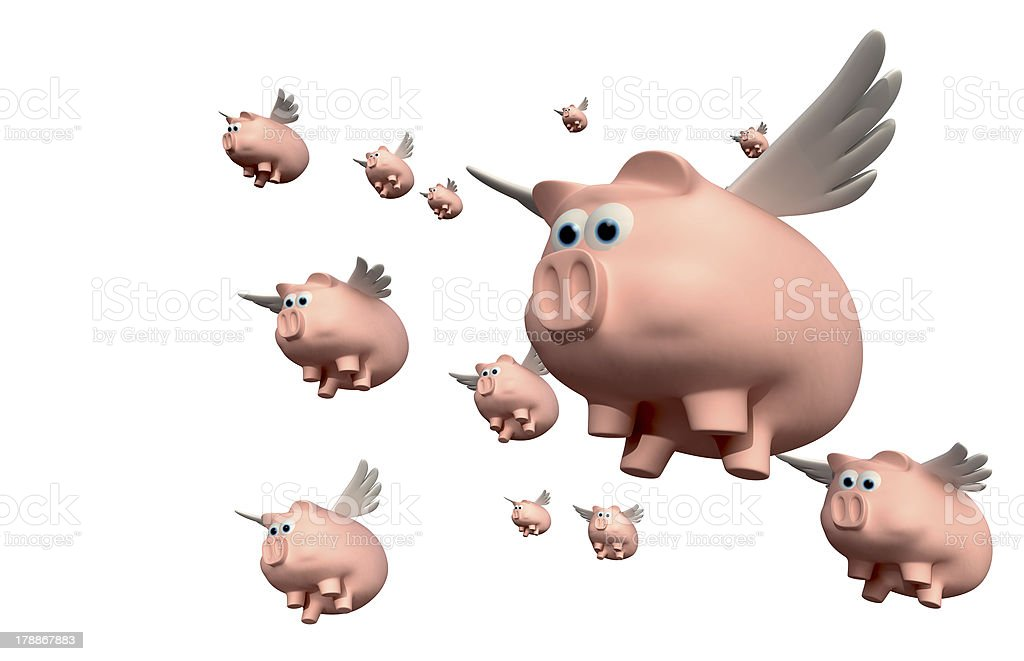 When Pigs Fly Group stock photo