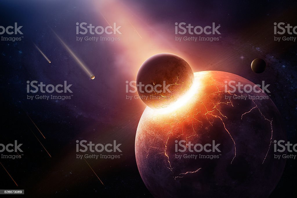 When planets collide stock photo