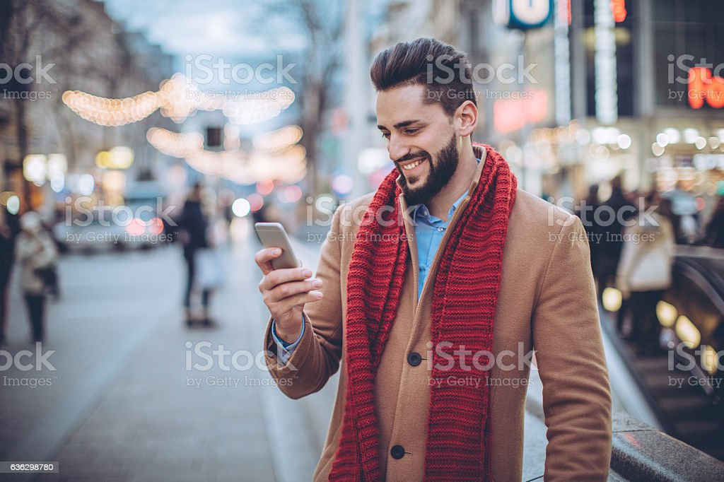 When she text I always smile stock photo
