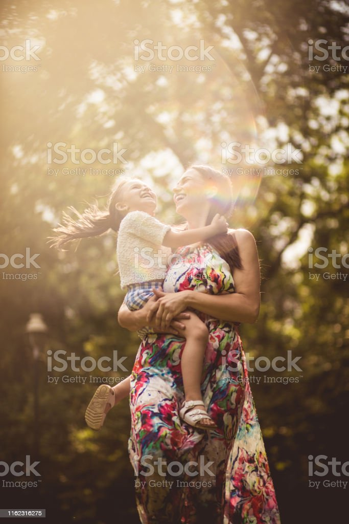 When the child is happy, it shines like the sun. Mother and daughter...
