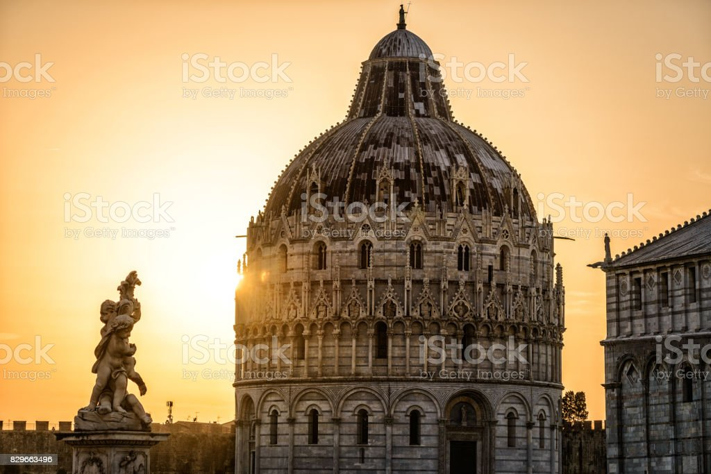 When the Massive meets the Little one, Pisa, Tuscany, Italy, Europe stock photo