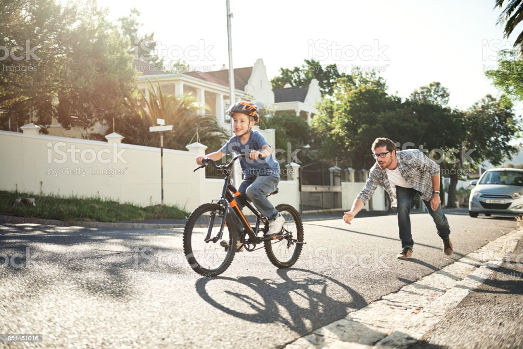 When the training wheels come off stock photo