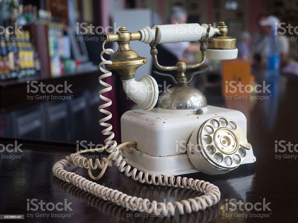 When times goes by - old telephone in Cuba stock photo