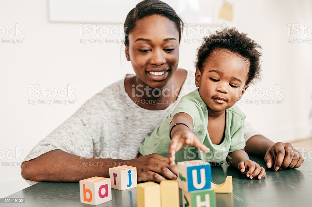 When to teach your toddler stock photo