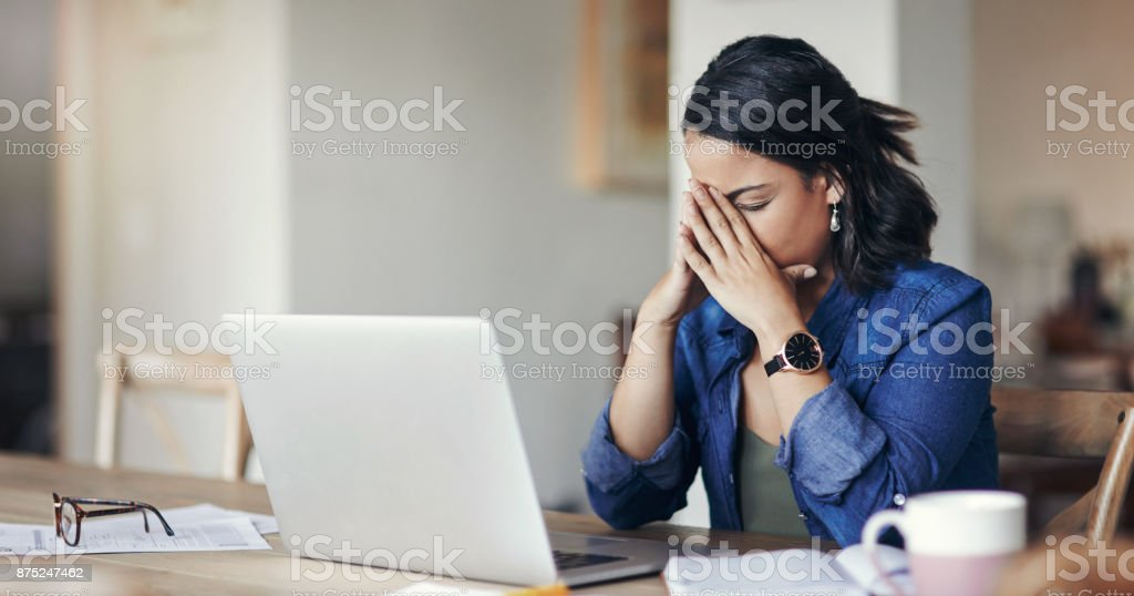 When working from home isn't work out stock photo