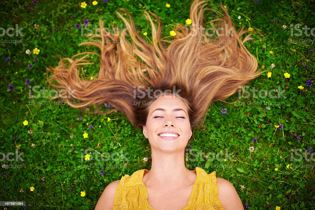 When you're happy everyday is a good hair day stock photo