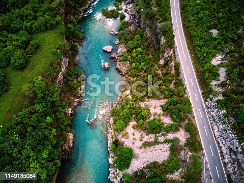 Aerial view of Moraca Canyon in Montenegro.