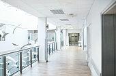 Shot of a empty hospital corridor on the 2nd floor