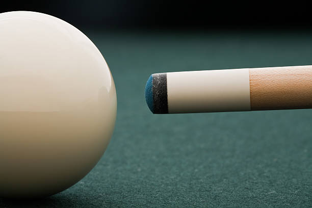 where chalk meets the cue - pool cue stock photos and pictures