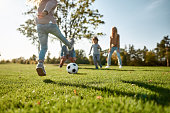 istock Where family fun begins. Happy family playing with a ball on meadow 1192721852