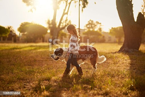 Shot of a cute little girl walking through a park with her dog