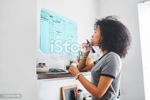 Shot of a young woman marking something on a poster on her wall at home