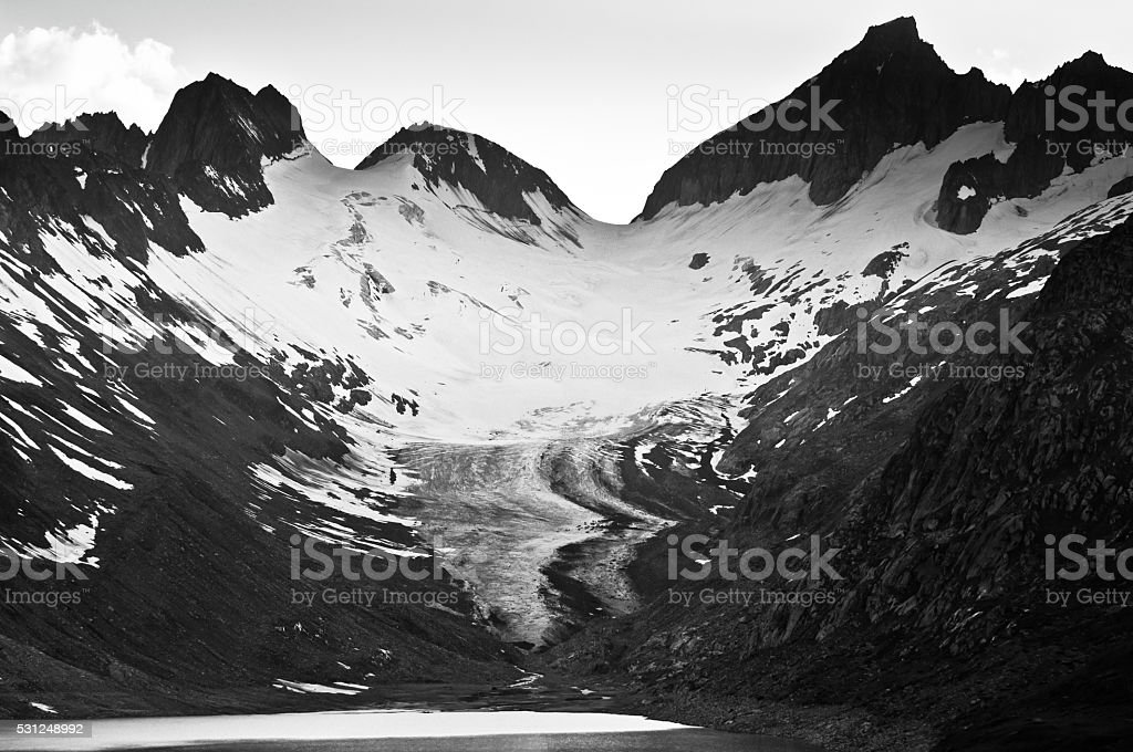 Where the glaciers born - shot from Grimselpass in stock photo