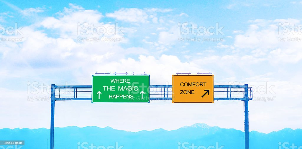Where the magic happens & Comfort zone Street Sign stock photo