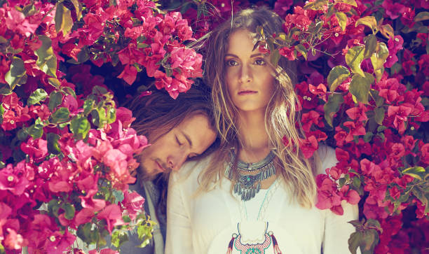 where there's love, there's life - hippie fashion stock photos and pictures