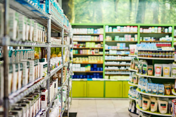 Where your wellness is put first Shot of the inside of a health store aisle stock pictures, royalty-free photos & images