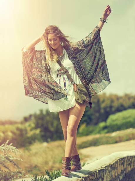wherever you go, go with all your heart - hippie fashion stock photos and pictures