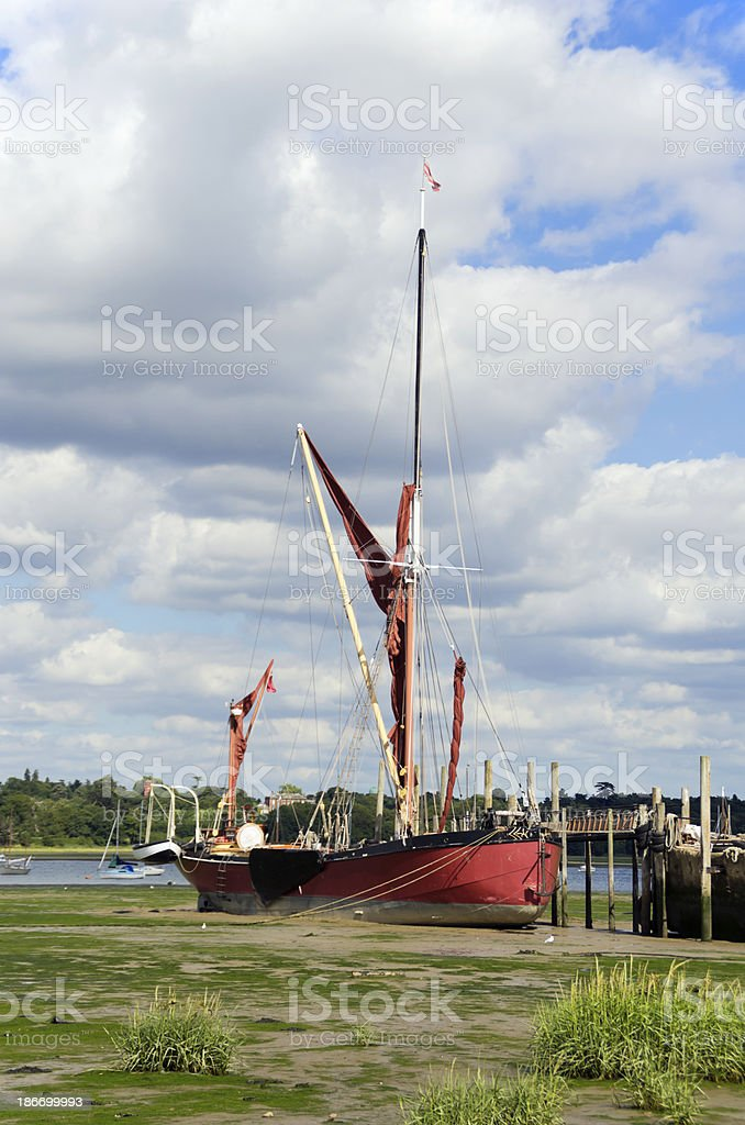 Wherry in the mud at low tide at Pin Mill royalty-free stock photo