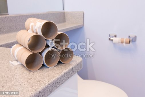 Empty toilet paper rolls after a colonoscopy prep or a bout with diarrhea