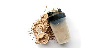 Whey protein powder with shaker for mixing