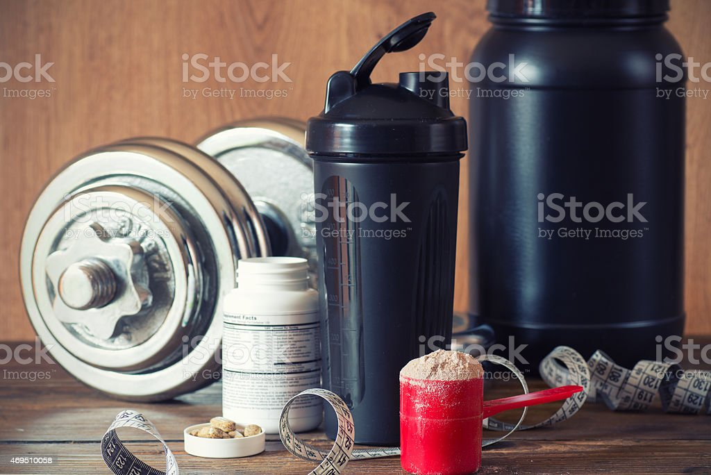 Whey protein powder stock photo